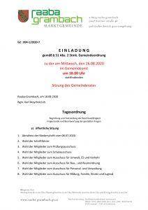 thumbnail of Einladung GR 260820_Anschlag